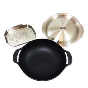 8856 GBS Cast Iron Gourmet Barbeque Wok & Steamer for Charcoal & Large Gas BBQs