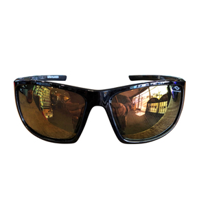Polarised Sunglasses - Shiny Black Frame - White Mirror Lens