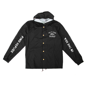Vandal Hooded Snap Jacket - Black