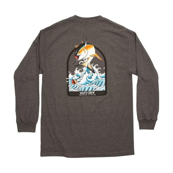 Poppin' Off Long Sleeve Tee Shirt - Charcoal Heather