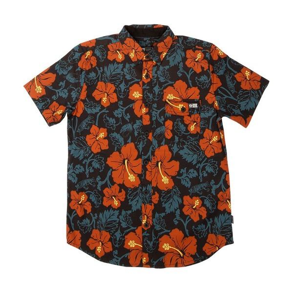 Hooked Floral Short Sleeve Woven Shirt - Black