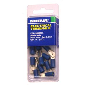 Blue Male Dual Spade Terminal Pack- 4mm Wire - 14-Pk