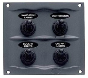 900-4WP 12v 4-Switch Grey Waterproof Marine Switch Panel