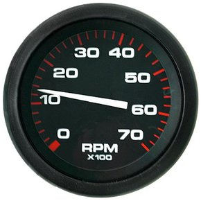 Amega 75mm Domed Tachometer-7000 RPM (petrol) Black