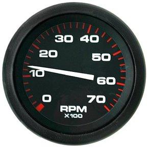Amega 75mm Domed Tachometer-7000 RPM (petrol) Black
