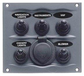 900-5wps 12v 5 Switch Panel with Cigarette Lighter Socket W/proof