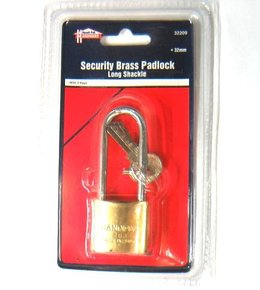 Long Shank 32mm Brass Padlock