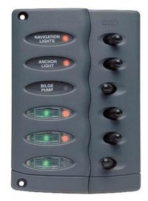 CSP6-PTC: 12v 6 Switch Led Panel w/Overload - Waterproof IP56