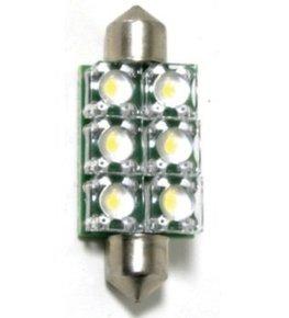 12v 6 LED Warm White Festoon Bulb - 10x42mm -6 LED