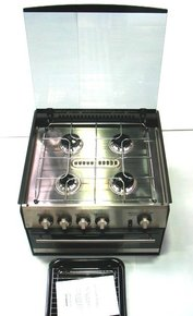 4 Burner Build-In Stove & Mini Grill (Black)
