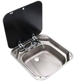 SS Sink with Lid & Folding Taps- 420w x 440d