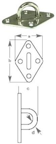 SS Diamond Pad Eye - 5mm - 37x59mmL