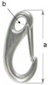 SS C-Shape Spring Snap Hook 6mm Eye 50mmL 220kgs BS - 316 Grade Forged