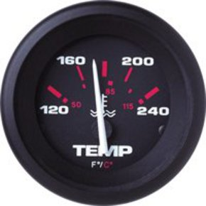 Amega 50mm Domed Water Temperature Gauge-Black