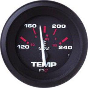 Amega 50mm Domed Water Temperature Gauge-Black