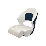 Pilot Super Deluxe Seat w/Flip Up Standing Support - White w/Navy Edge Trim