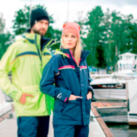 Sydney Ladies Coastal Class Sailing Jacket - Med - Navy/Neon Pink
