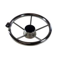 "5 Spoke 11"" Compact (28cm) SS Steering Wheel w/Brodie Knob"