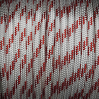 8mm Classic Yacht Racing Braid per metre - White w/Red Fleck