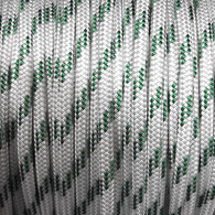 10mm Classic Yacht Racing Braid per metre - White w/Green Fleck