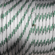 12mm Classic Yacht Racing Braid per metre - White w/Green Fleck
