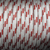 14mm Classic Yacht Racing Braid per metre - White w/Red Fleck