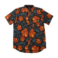 Hooked Floral Short Sleeve Woven Shirt - Black