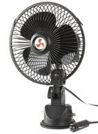 12V Oscillating Fan with Suction Mount Bracket