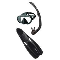 Cobia Fluida Dive Mask Snorkel and Fins Black Medium