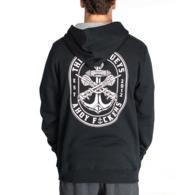 Dbl Fkd Hooded Pullover Fleece - Black
