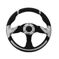 "3 Spoke 12.5"" Steering Wheel w/Brushed Alum Centre / Black Grip"
