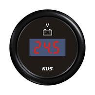 Digital Voltmeter Gauge - Black 52mm