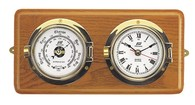 "3"" Crome on Brass Time & Tide Clock and Barometer on Teak"
