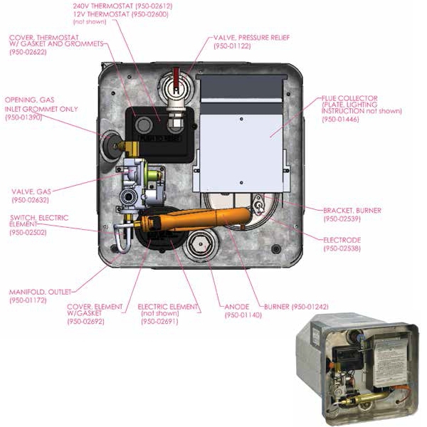 sw6dea: 22.6l rv motorhome water heater gas/240v | smart ... wiring diagram for suburban rv water heater